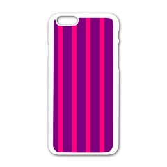 Deep Pink And Black Vertical Lines Apple Iphone 6/6s White Enamel Case