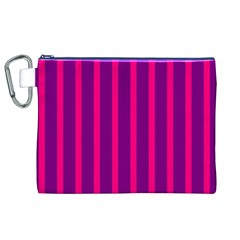 Deep Pink And Black Vertical Lines Canvas Cosmetic Bag (xl)