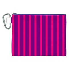 Deep Pink And Black Vertical Lines Canvas Cosmetic Bag (xxl)
