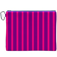 Deep Pink And Black Vertical Lines Canvas Cosmetic Bag (xxxl)