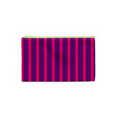 Deep Pink And Black Vertical Lines Cosmetic Bag (xs)