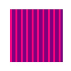 Deep Pink And Black Vertical Lines Small Satin Scarf (square)