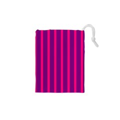 Deep Pink And Black Vertical Lines Drawstring Pouches (XS)