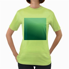 Blue Dot Pattern Women s Green T Shirt