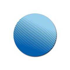 Blue Dot Pattern Rubber Round Coaster (4 Pack)