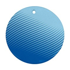 Blue Dot Pattern Round Ornament (two Sides)