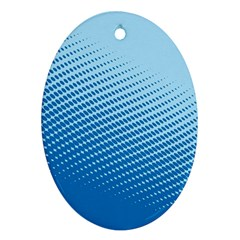 Blue Dot Pattern Oval Ornament (two Sides)