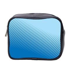 Blue Dot Pattern Mini Toiletries Bag 2 Side