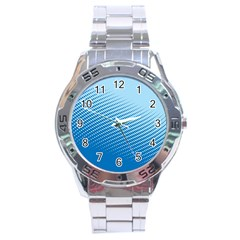 Blue Dot Pattern Stainless Steel Analogue Watch
