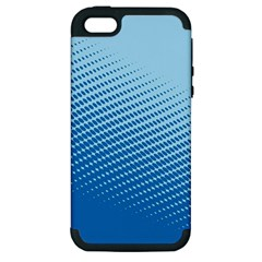 Blue Dot Pattern Apple Iphone 5 Hardshell Case (pc+silicone)