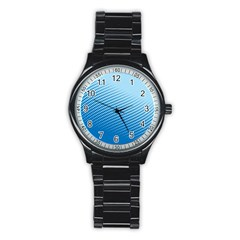 Blue Dot Pattern Stainless Steel Round Watch