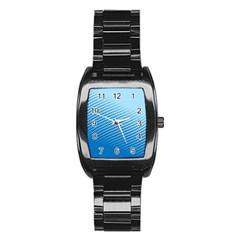 Blue Dot Pattern Stainless Steel Barrel Watch