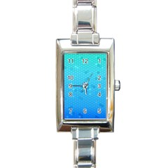 Blue Seamless Black Hexagon Pattern Rectangle Italian Charm Watch