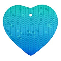 Blue Seamless Black Hexagon Pattern Ornament (Heart)