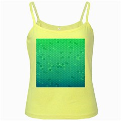 Blue Seamless Black Hexagon Pattern Yellow Spaghetti Tank