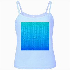 Blue Seamless Black Hexagon Pattern Baby Blue Spaghetti Tank