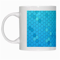 Blue Seamless Black Hexagon Pattern White Mugs