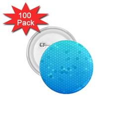 Blue Seamless Black Hexagon Pattern 1.75  Buttons (100 pack)