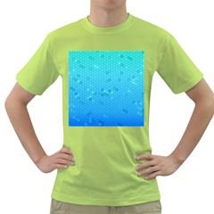Blue Seamless Black Hexagon Pattern Green T Shirt