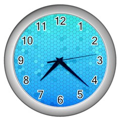Blue Seamless Black Hexagon Pattern Wall Clocks (silver)