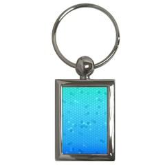 Blue Seamless Black Hexagon Pattern Key Chains (rectangle)