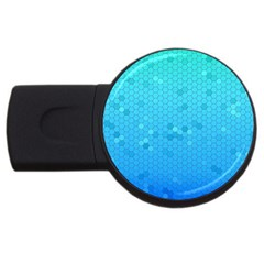 Blue Seamless Black Hexagon Pattern Usb Flash Drive Round (2 Gb)