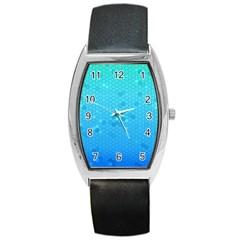 Blue Seamless Black Hexagon Pattern Barrel Style Metal Watch