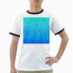 Blue Seamless Black Hexagon Pattern Ringer T Shirts