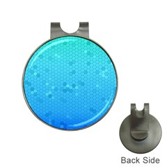Blue Seamless Black Hexagon Pattern Hat Clips With Golf Markers