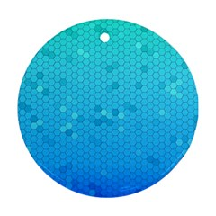 Blue Seamless Black Hexagon Pattern Round Ornament (two Sides)