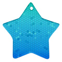 Blue Seamless Black Hexagon Pattern Star Ornament (two Sides)