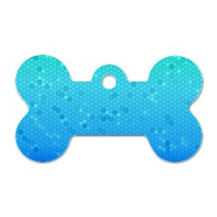 Blue Seamless Black Hexagon Pattern Dog Tag Bone (two Sides)