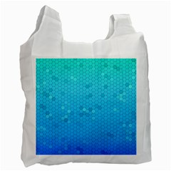 Blue Seamless Black Hexagon Pattern Recycle Bag (two Side)