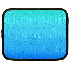Blue Seamless Black Hexagon Pattern Netbook Case (xxl)