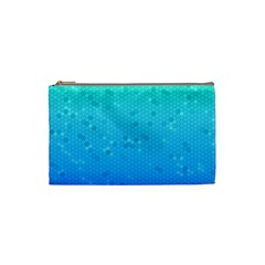 Blue Seamless Black Hexagon Pattern Cosmetic Bag (small)