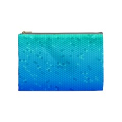 Blue Seamless Black Hexagon Pattern Cosmetic Bag (medium)