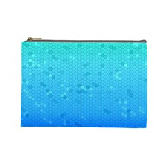 Blue Seamless Black Hexagon Pattern Cosmetic Bag (large)