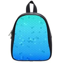 Blue Seamless Black Hexagon Pattern School Bags (small)
