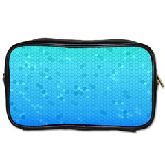 Blue Seamless Black Hexagon Pattern Toiletries Bags 2 Side