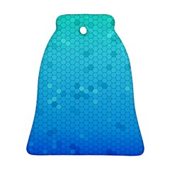 Blue Seamless Black Hexagon Pattern Bell Ornament (two Sides)