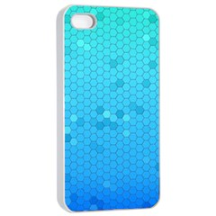 Blue Seamless Black Hexagon Pattern Apple Iphone 4/4s Seamless Case (white)