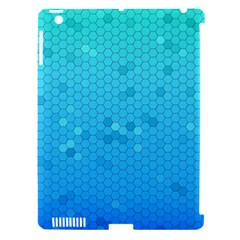 Blue Seamless Black Hexagon Pattern Apple Ipad 3/4 Hardshell Case (compatible With Smart Cover)