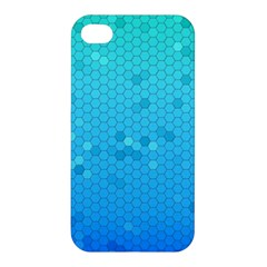 Blue Seamless Black Hexagon Pattern Apple Iphone 4/4s Premium Hardshell Case