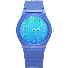Blue Seamless Black Hexagon Pattern Round Plastic Sport Watch (s)