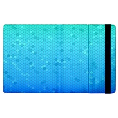 Blue Seamless Black Hexagon Pattern Apple Ipad 2 Flip Case