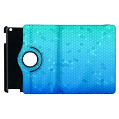 Blue Seamless Black Hexagon Pattern Apple Ipad 3/4 Flip 360 Case