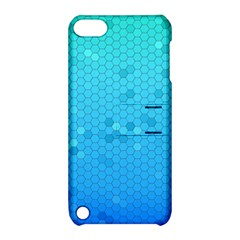 Blue Seamless Black Hexagon Pattern Apple Ipod Touch 5 Hardshell Case With Stand