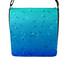 Blue Seamless Black Hexagon Pattern Flap Messenger Bag (l)