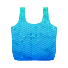 Blue Seamless Black Hexagon Pattern Full Print Recycle Bags (m)
