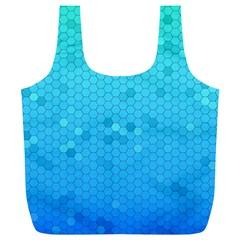 Blue Seamless Black Hexagon Pattern Full Print Recycle Bags (l)